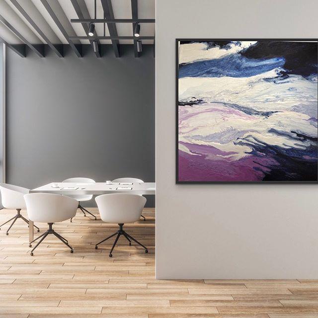 "My new 40 x 40 in a room. ""In My Liminal State 2"" will be on @saatchiart and my website later . . . . #artcurator #santefeartdistrict  #artdealer #rinoartdistrict #artcollectors #interiordesign #artlover #contemporaryartcurator #aspengallery #artconsultant #fluidacrylic #lobbyart #artistslife #landscape #artconsultant #hospitalitydesign #dartgallerydenver #contemporaryartgallery #denverartist #nycdesigner #interiordesigncolorado  #gabrielleartstudio #coloradoartist #gabrielleshannonstudio  #denverdesigner #inthestudio #womanartist #dartgallerydenver"