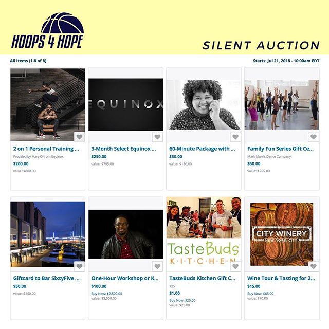 SILENT AUCTION IS LIVE! . As you might know, we're going to have a silent auction at next week's tournament! Are you bummed that you live out of town and are unable to come out to the event? NEVER FEAR.... the silent auction will be LIVE tomorrow (7/21) at 10am! You'll have the opportunity to start bidding and win some exciting items! Photography sessions, cooking lessons, and personal training sessions are just a few of the offerings. Head to the website and place your bids!  _____ To learn more about how you can help fight for a cure for JM, visit our website at HoopsforHopeTournament.org