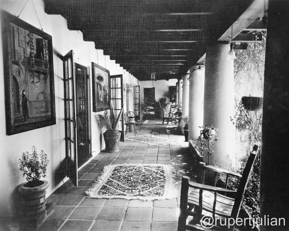 The interior at 2130 Vista Del Mar (the former Krotona Court) in Los Angeles, CA.  Photograph undated, from the Bison Archive in Los Angeles, CA.
