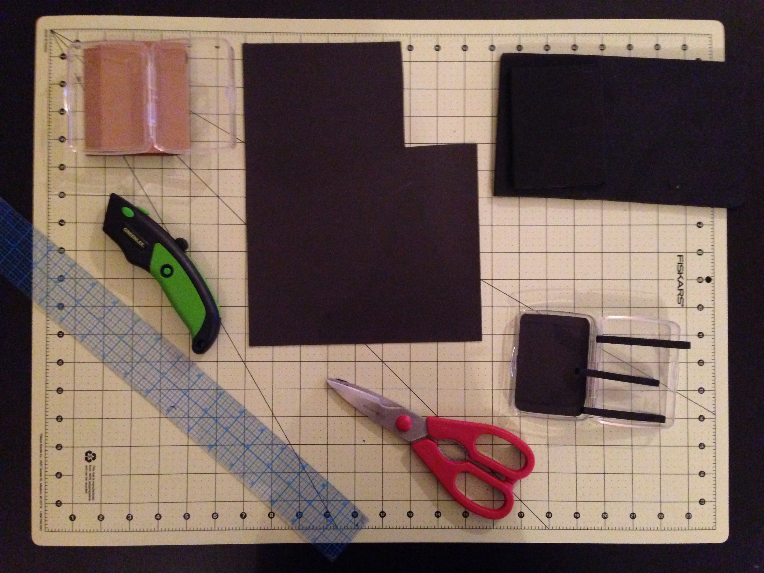 Here's the rest of what you need:  Scissors and razor blade, 6mm foam sheet, magnetic sheet with sticky back, straight edge