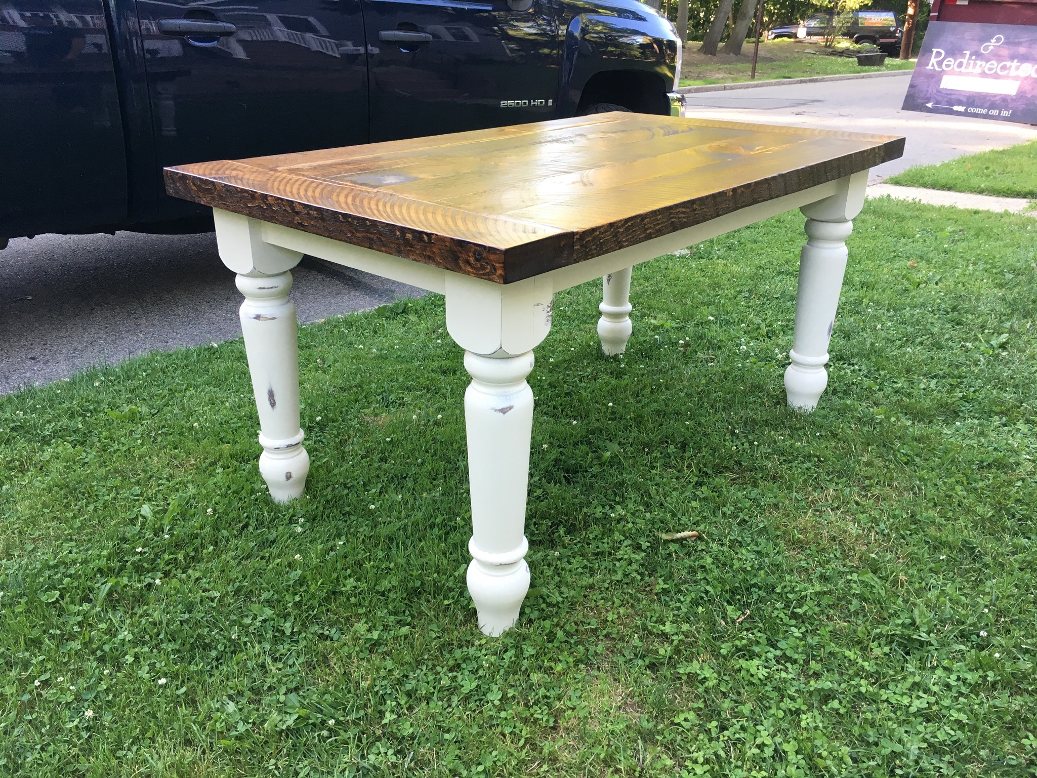 New wood, hand distressed and custom stained trestle table and matching bench