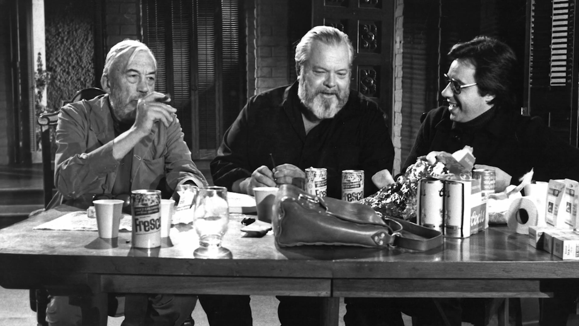 From left to right: John Huston, Orson Welles, Peter Bogdanovich