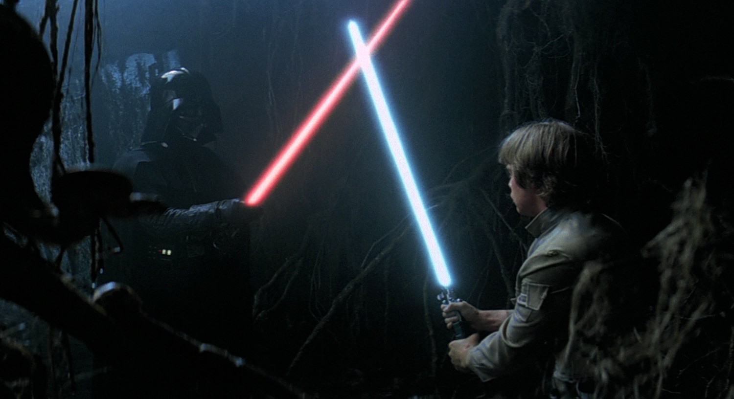 Luke confronts himself (as Darth Vader) on Dagobah in  The Empire Strikes Back  (1980)