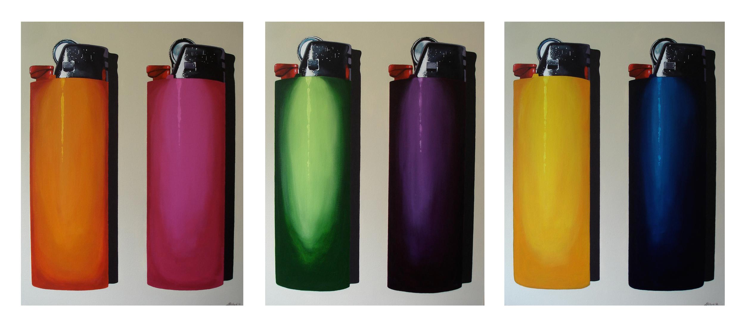 """Six Bics Triptych  - acrylic on Canvas 24"""" x 30"""" x 3"""