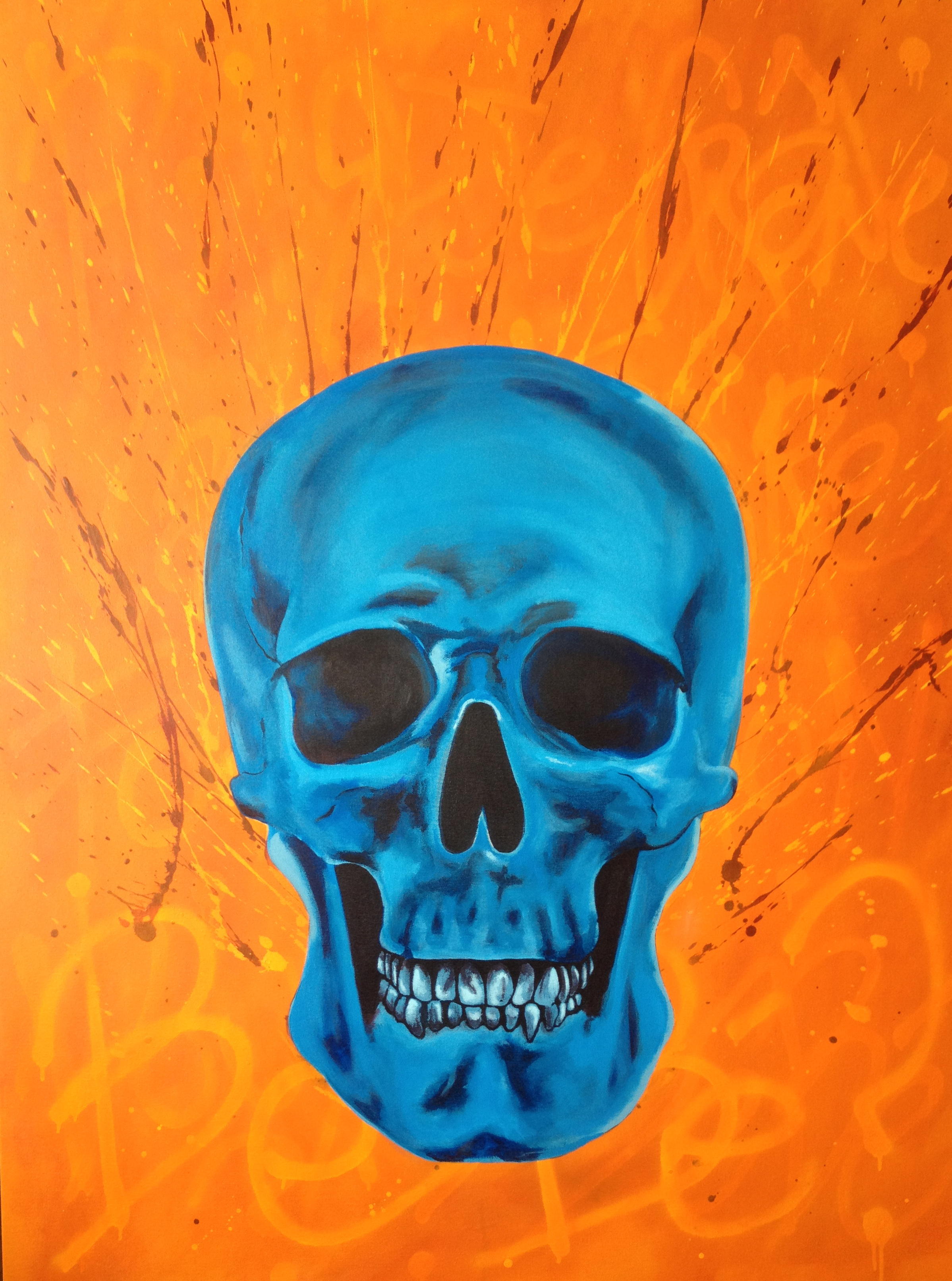 "Blue Skull  - acrylic on canvas 36"" x 48"""