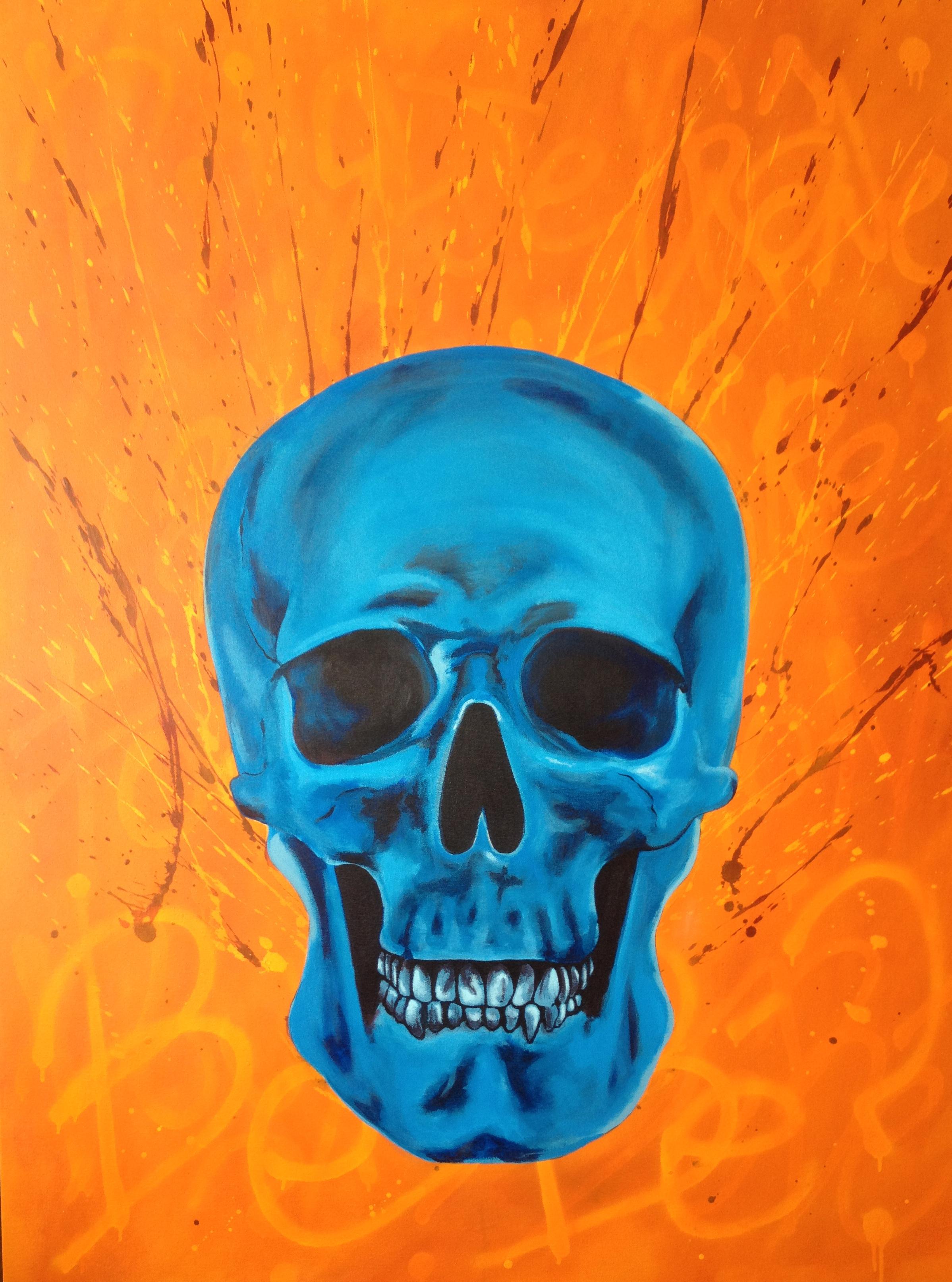 """Blue Skull  - acrylic on canvas 36"""" x 48"""""""