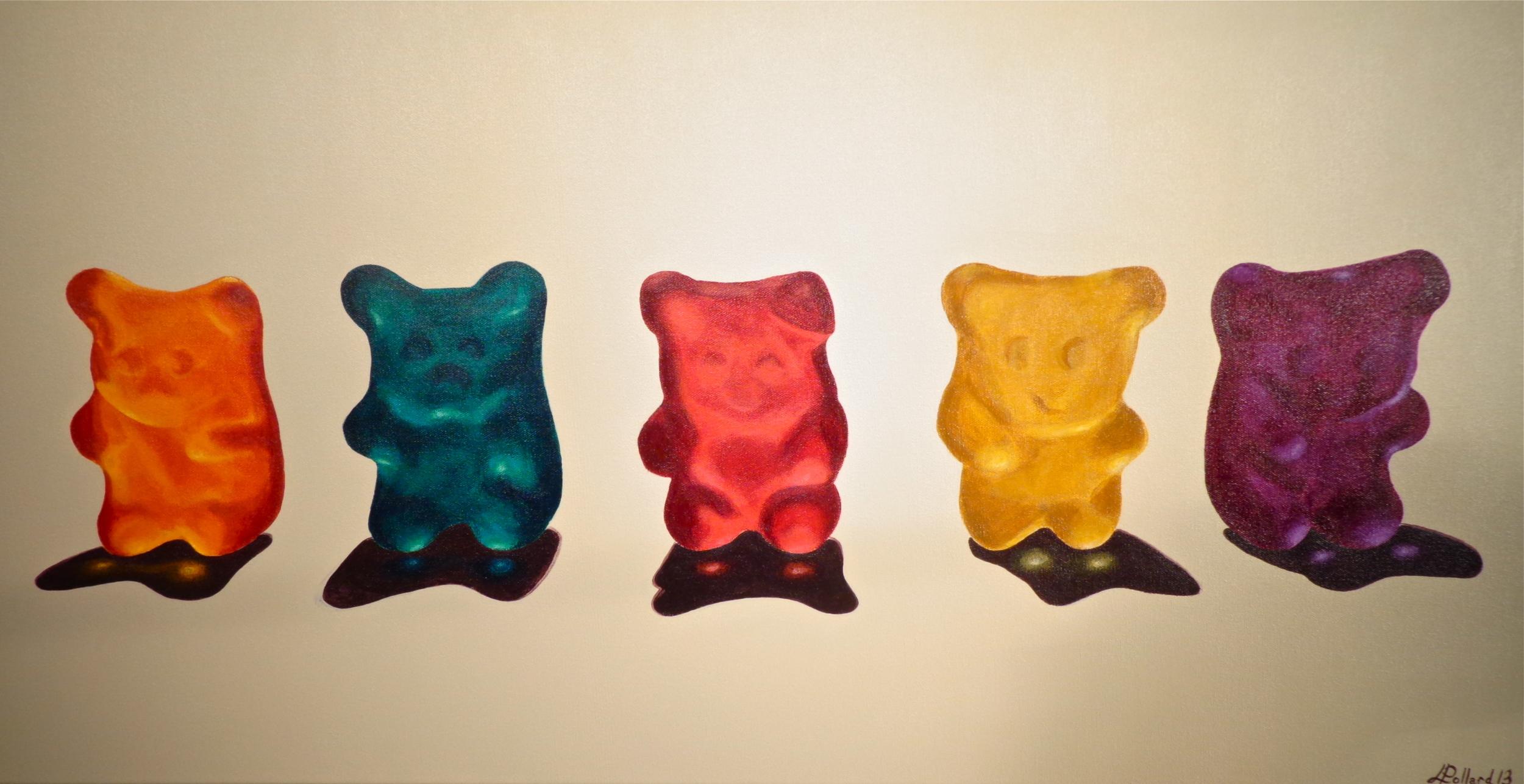 "Five Gummies  - acrylic on canvas 18"" x 36"""