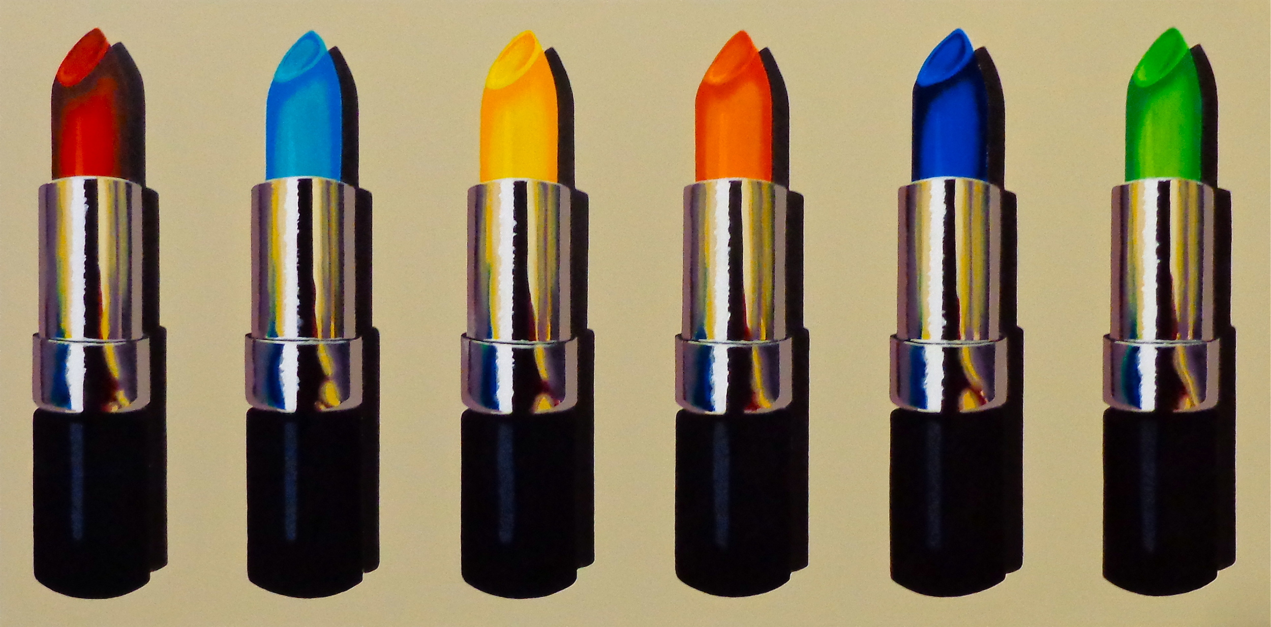 "Six Lipstick - acrylic on canvas 18"" x 36"""