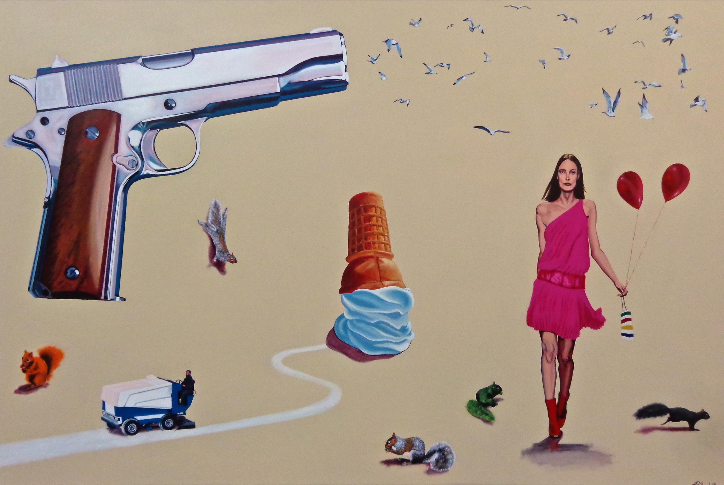 "Downtown  - acrylic on canvas 48"" x 72"""