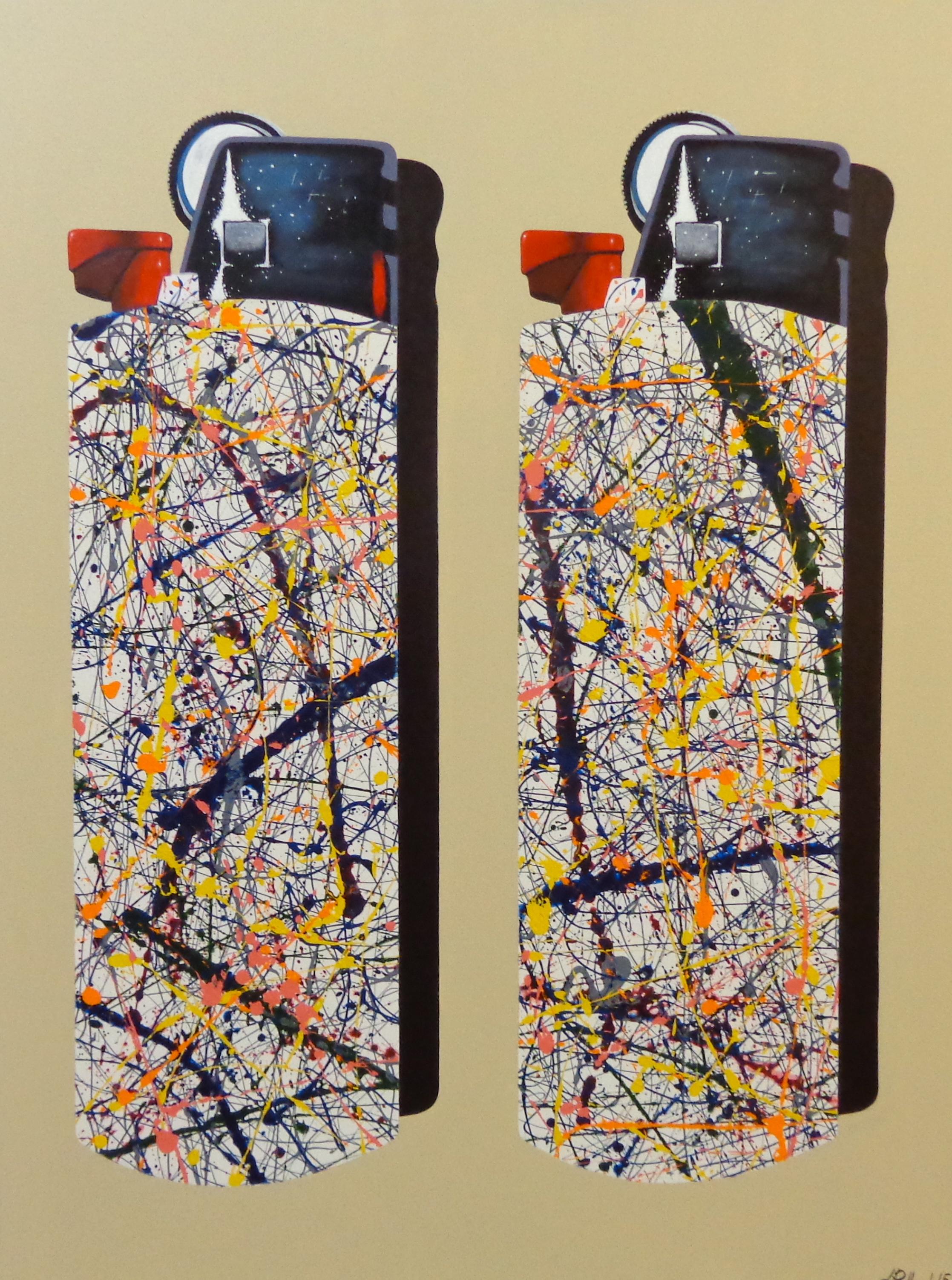 "Pollock Bics  - acrylic on canvas 48"" x 36"""