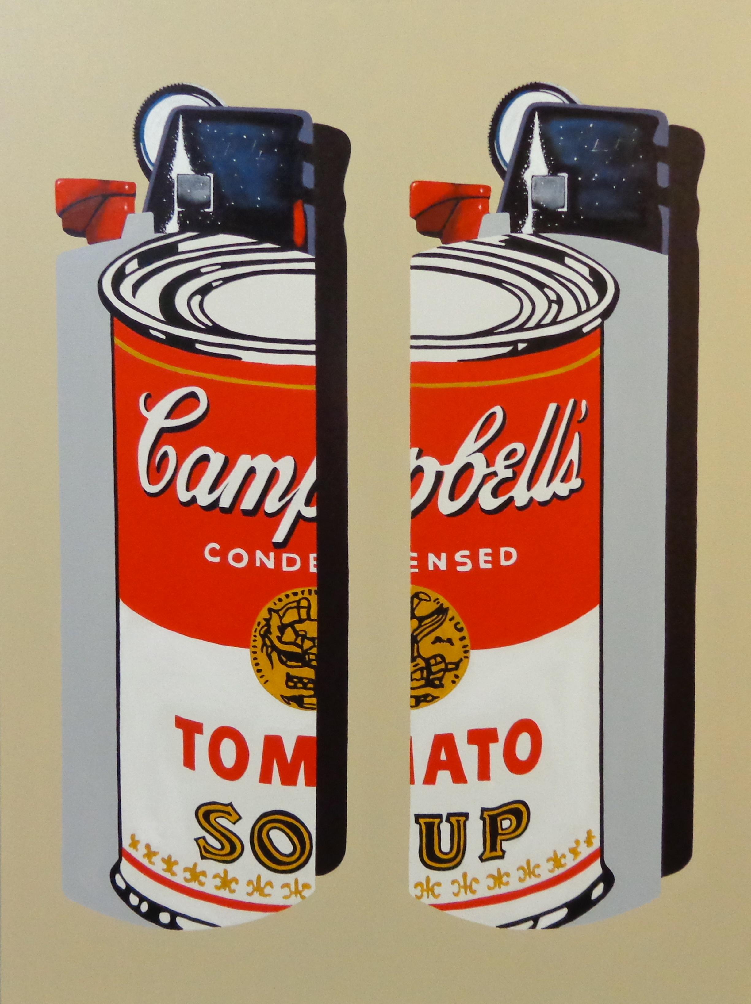 "Warhol Bics -  acrylic on canvas 48"" x 36"""