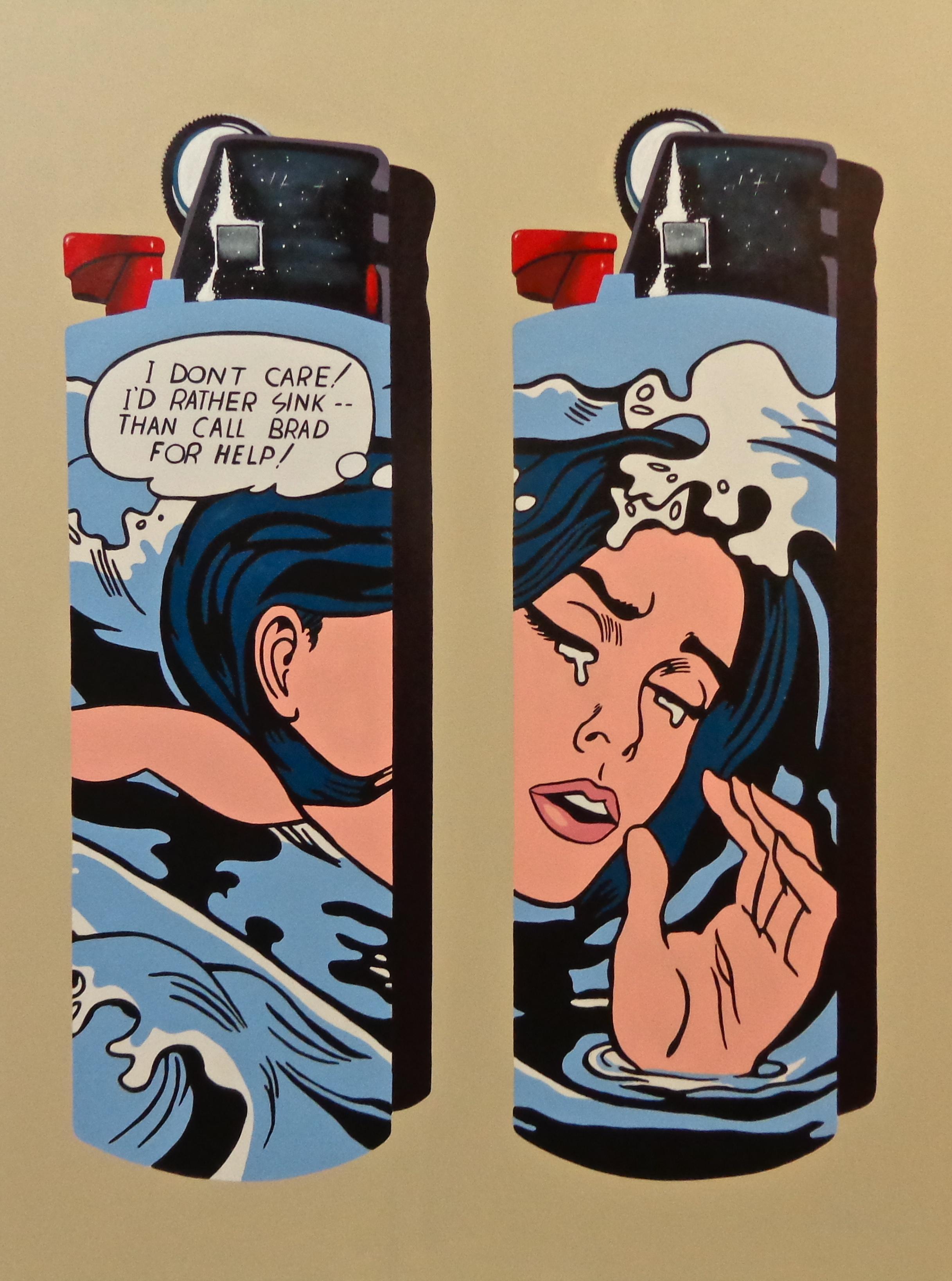 """Lichtenstein Bics -  acrylic on canvas 48"""" x 36"""""""