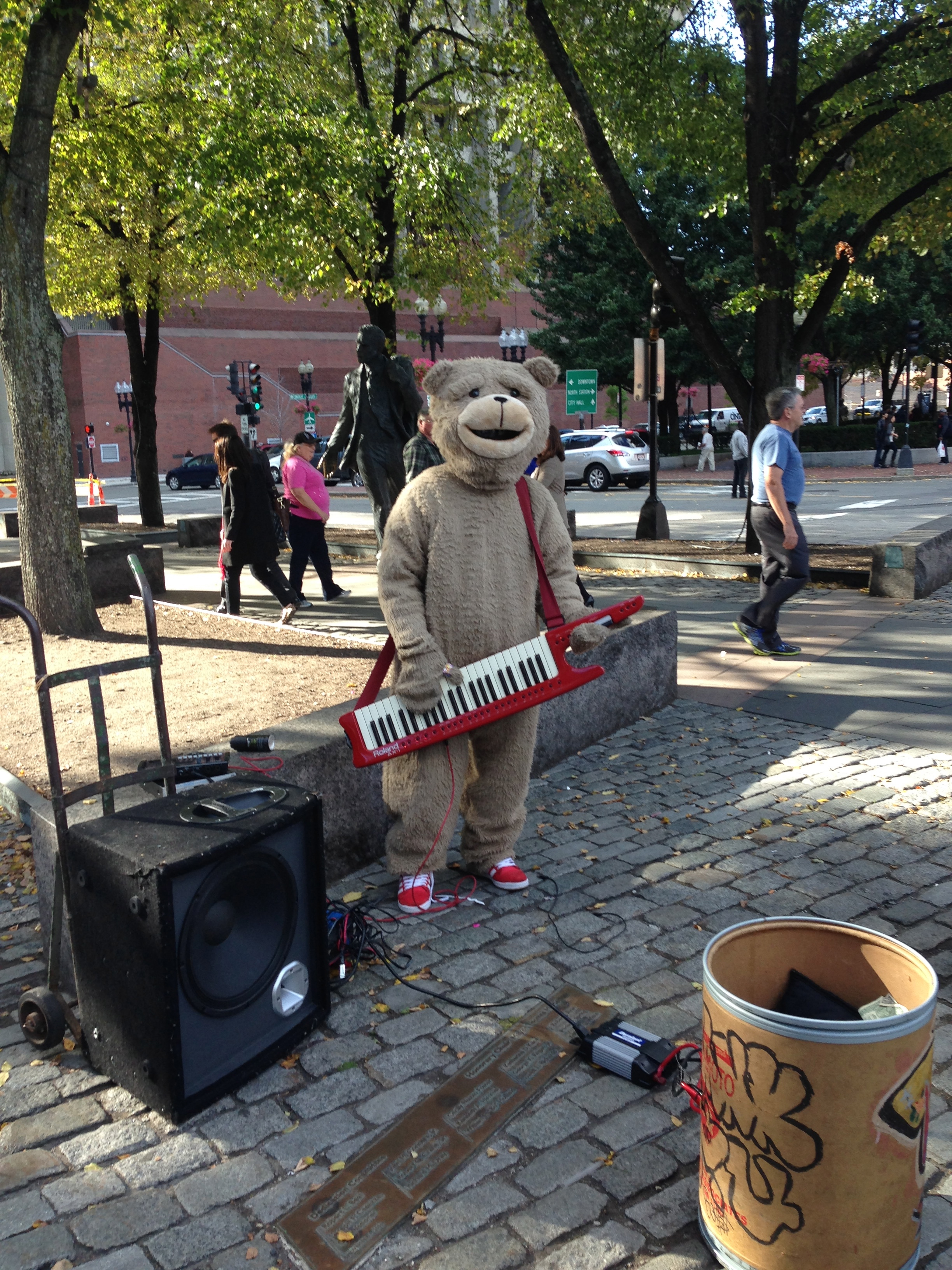Keytar Bear is his name…so I hear.  A Boston Staple.