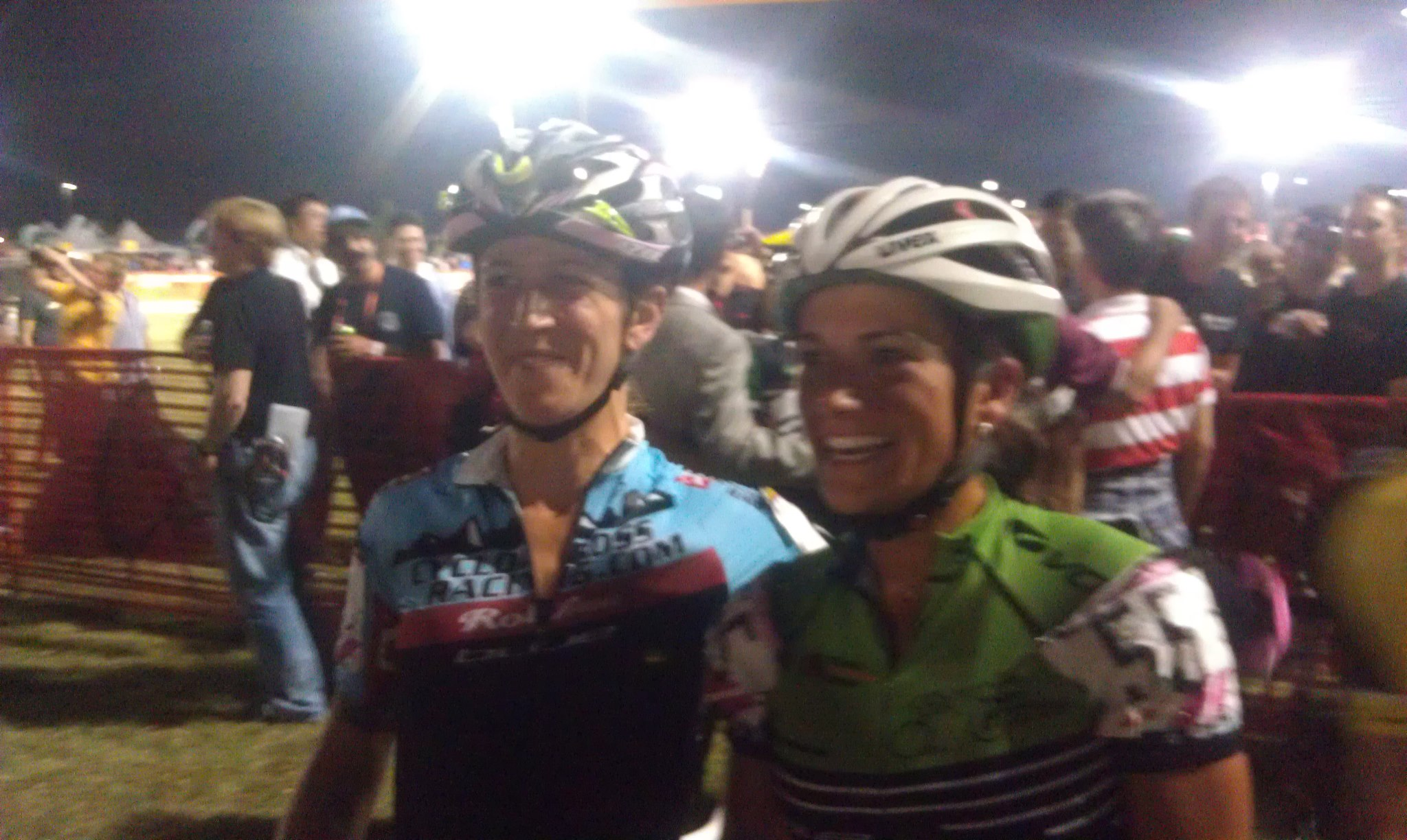 CrossVegas 2012, my first Vegas.  Jess Cutler and I all smiles post race.
