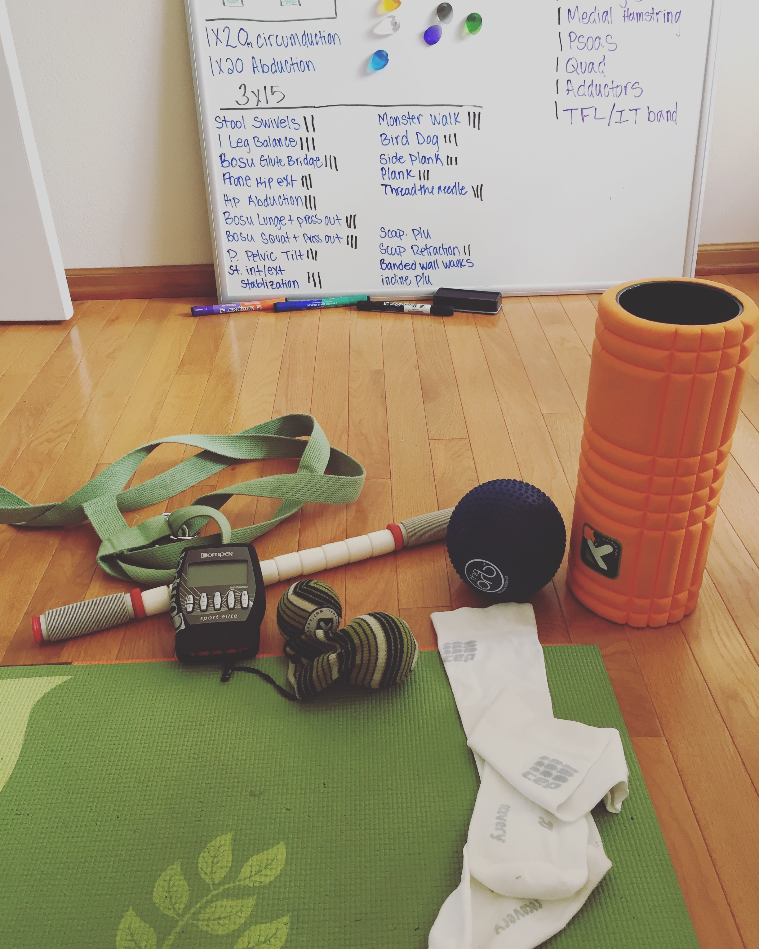 My favorite at home recovery tools + some of my PT (at the time of the photo)