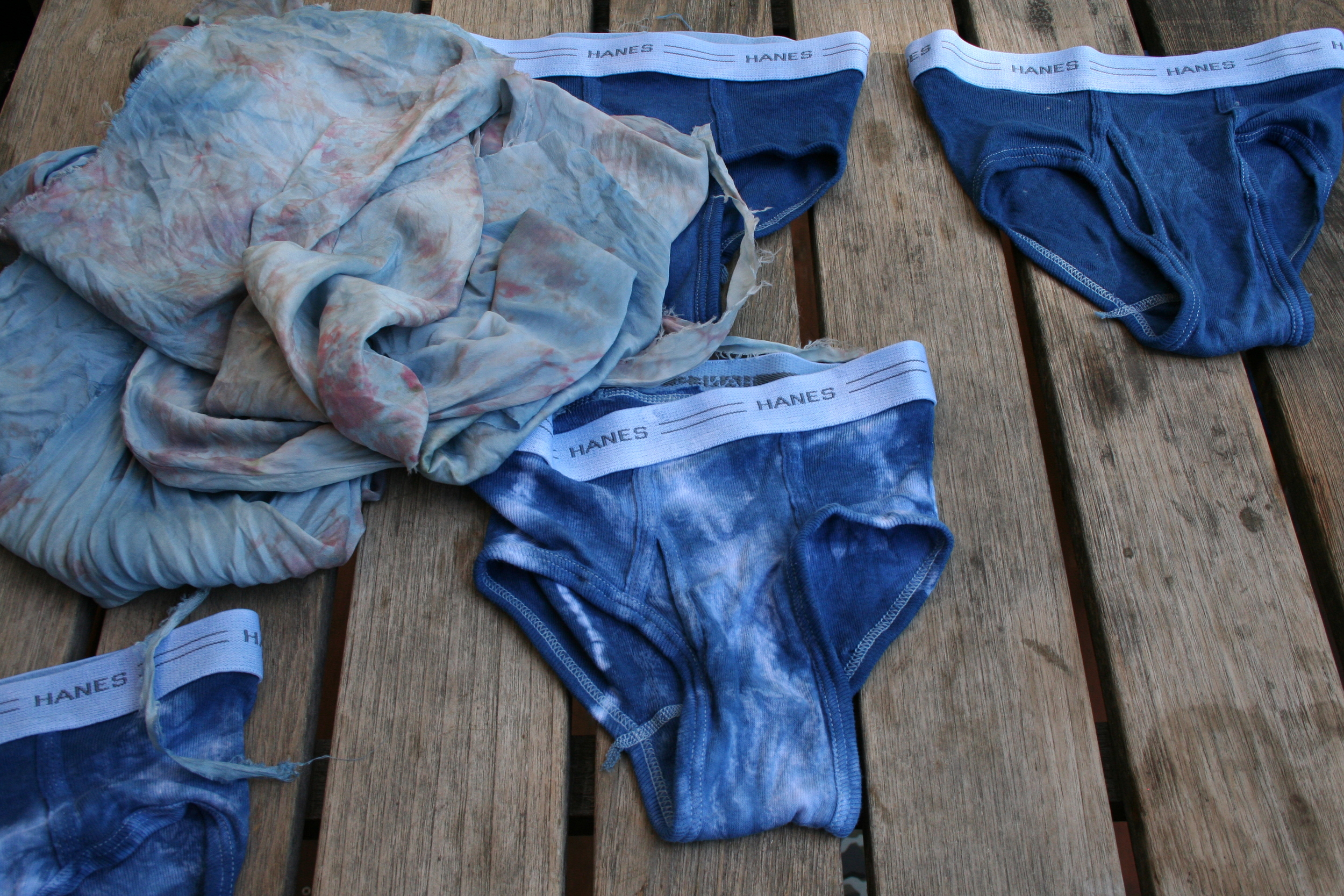 new undies and overdyed silk remnants.  Love how this silk turned pale blue.  It was already dyed pink, but it was too pink, if you know what I mean.  Now, I'm in love.
