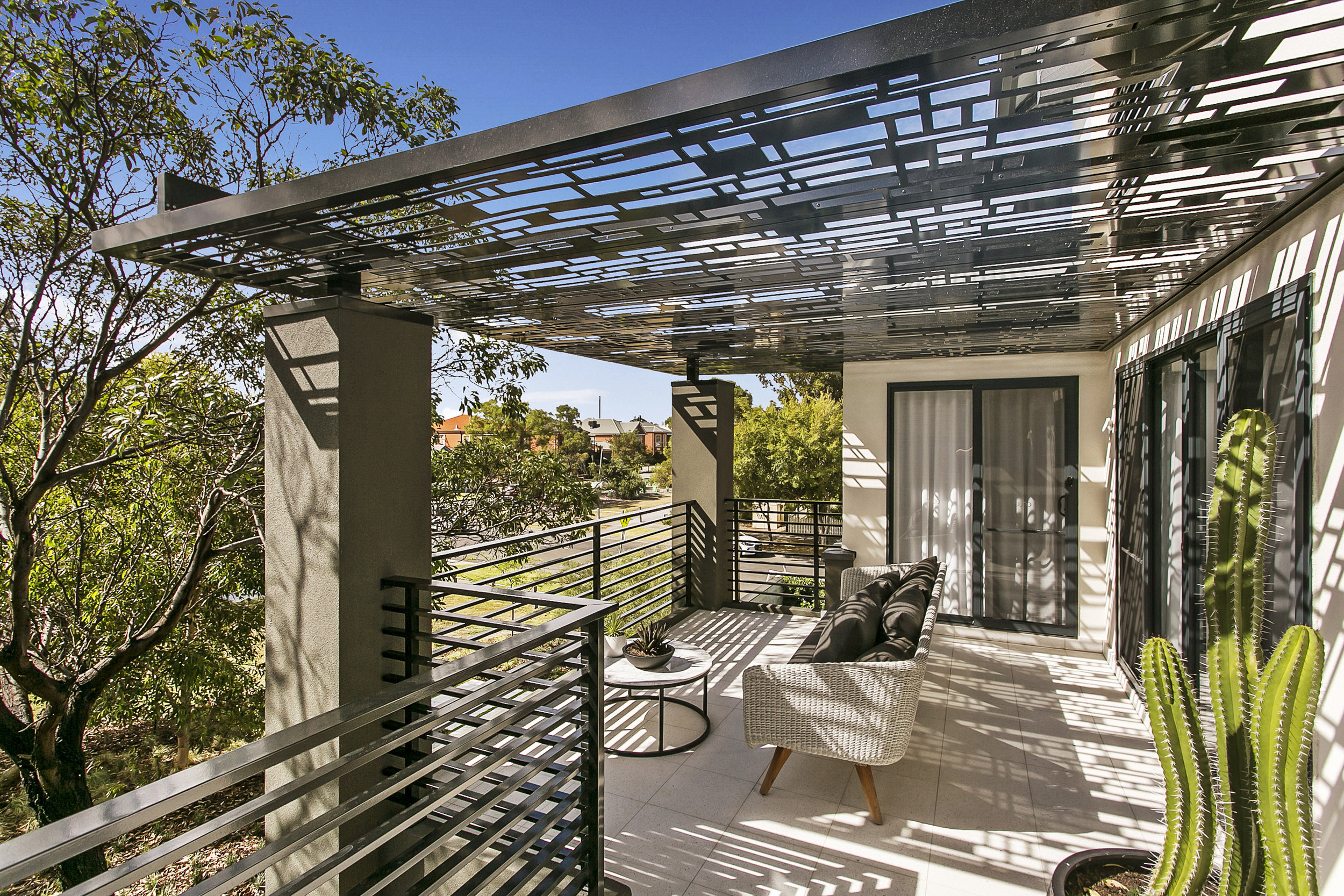 Screening was also used on the balcony roof as an addition feature and partial sun shade