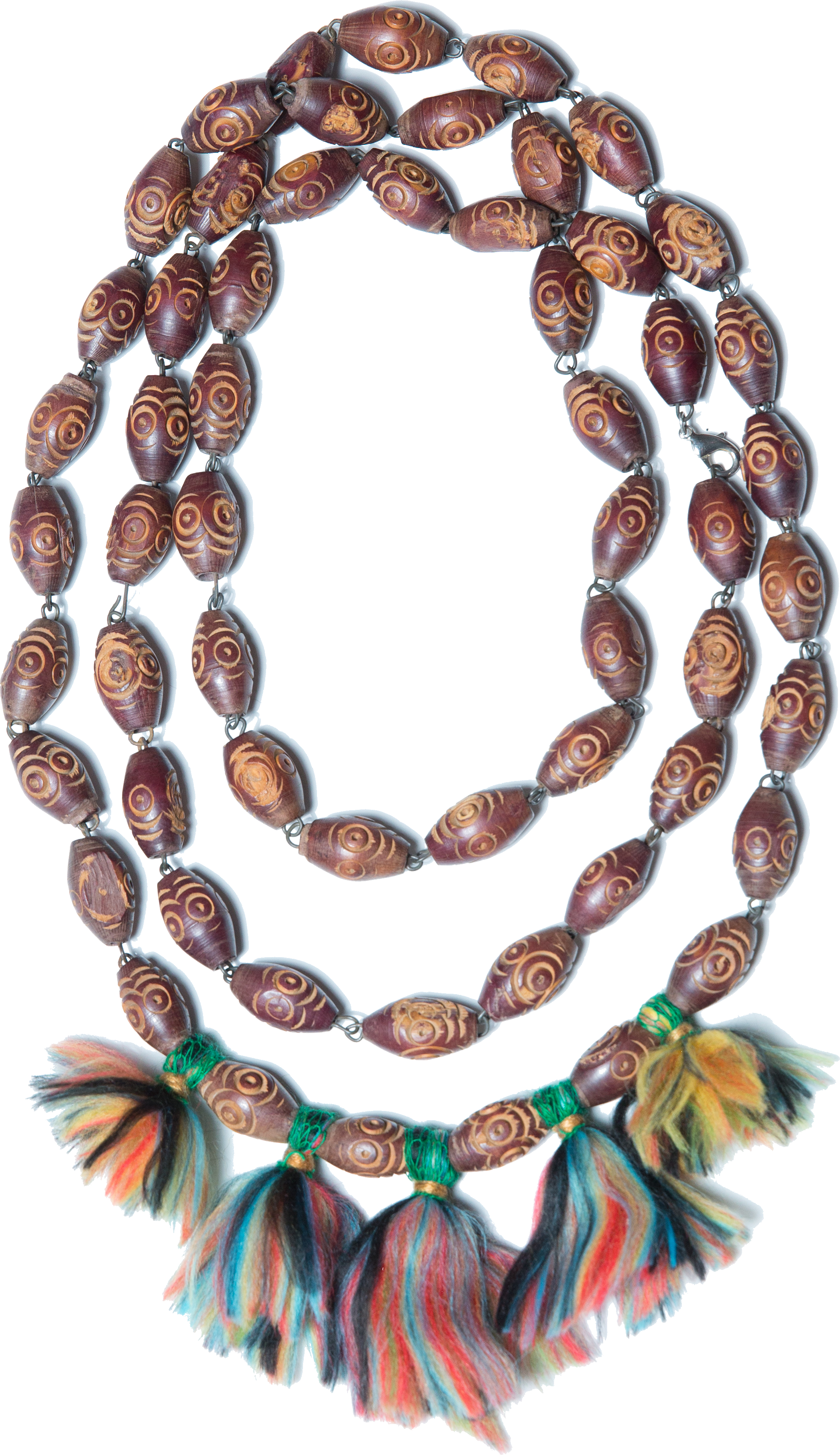 A collection of jewelry inspired by time spent abroad in Provence, France, these pieces utilize a combination of hand wrapping, knotting, and knitting techniques.  materials : reclaimed wooden + brass beads, leather, yarn, multicolored wool roving