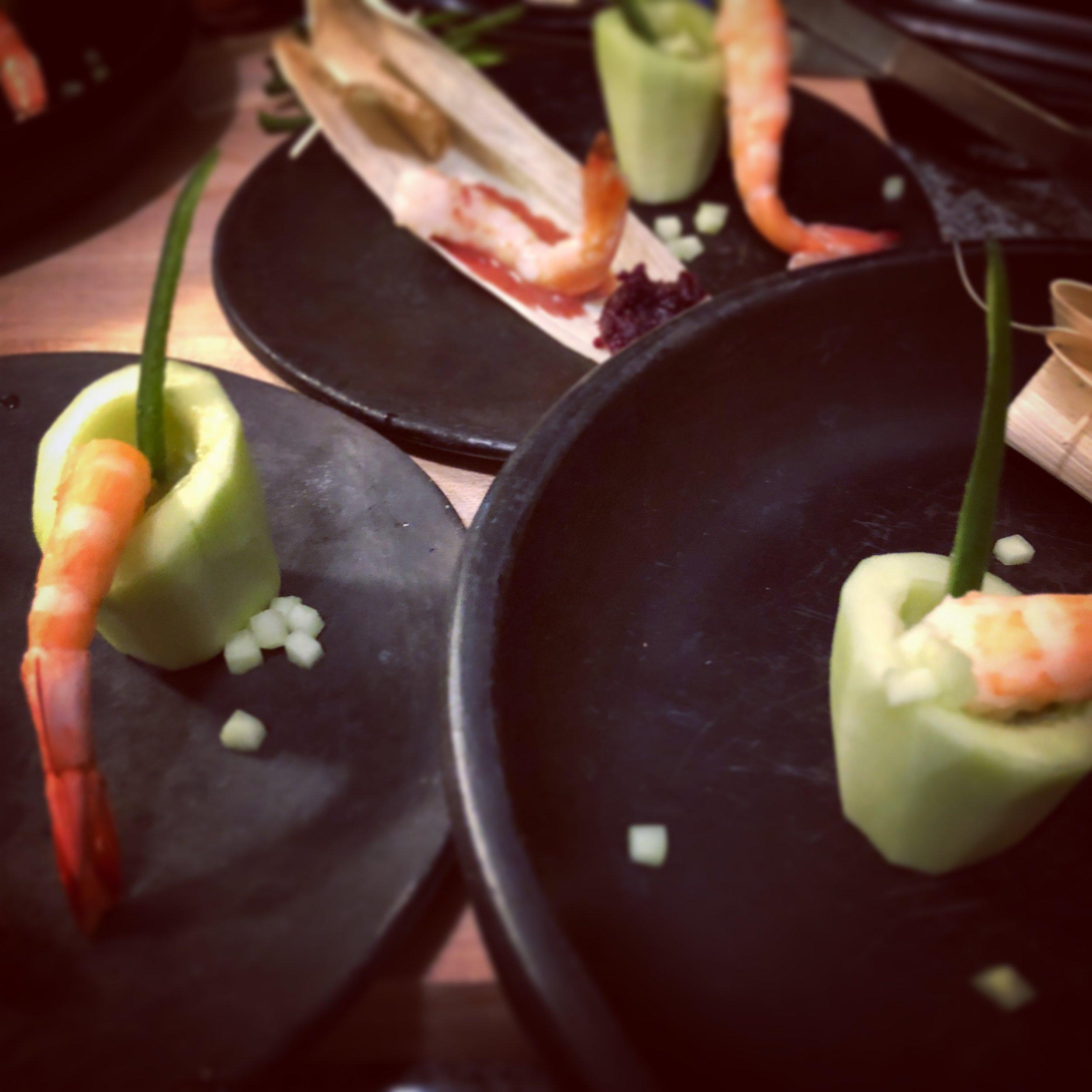 hibiscus shrimp and aguachile