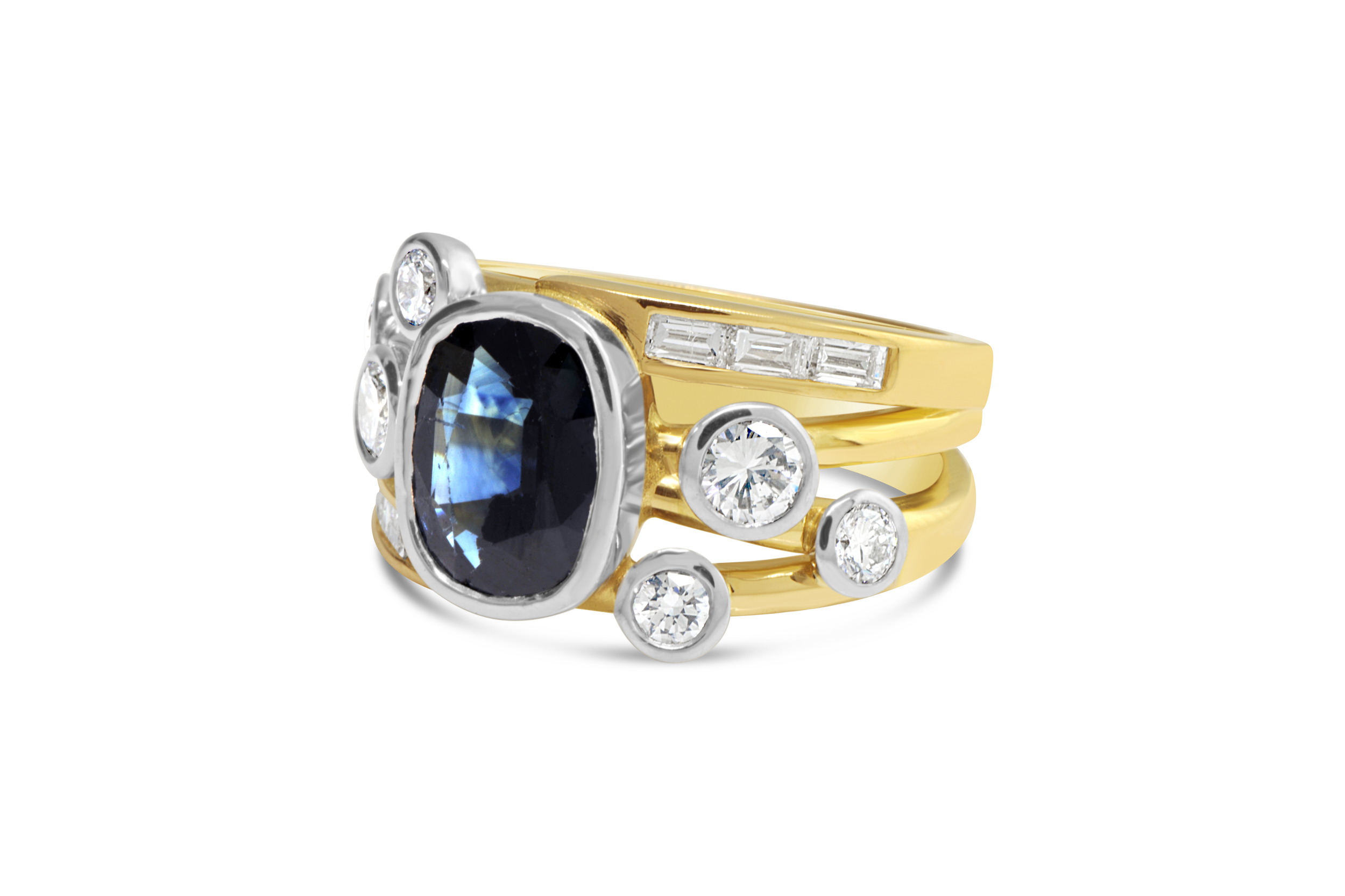 A combination of a few worn out rings into one spectacular creation. Have your next piece of jewellery created just for you using your treasured gemstones.