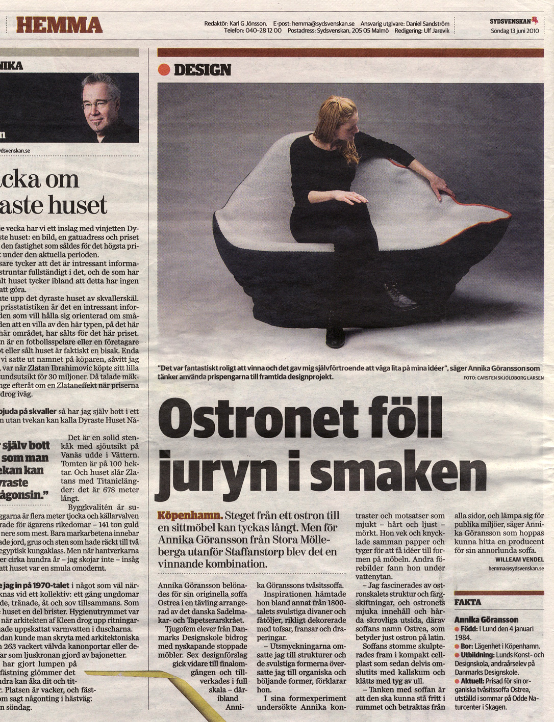 Article in Swedish newspaper  Sydsvenskan.