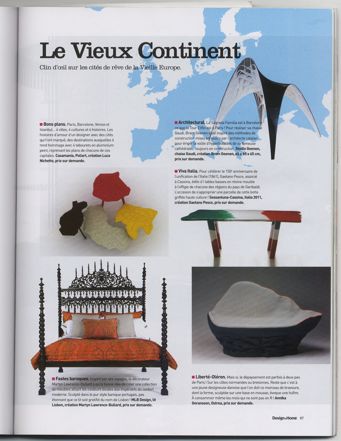 Ostrea featured in French magazine  Design @ Home.