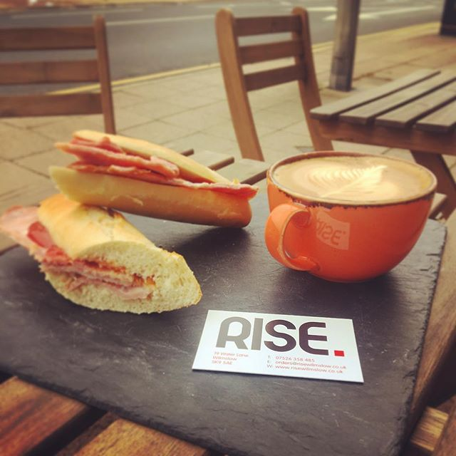 *BREAKFAST SPECIAL* Bacon, Sausage or Egg Baguette, with any hot drink just £4.25!! Ready in minutes, what's not to love? (Takeaway only) • • • #rise #wilmslow #coffee #breakfast #special #latte #bacon #sausage #cheshire #coffeemorning #coffeeshop #yum #latteart #shoplocal #independent