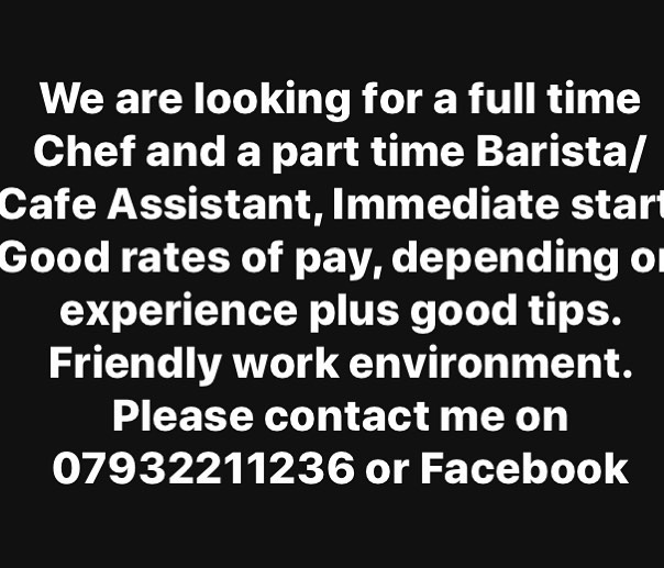 You may apply by phone, in person or email, Risecafewilmslow@gmail.com