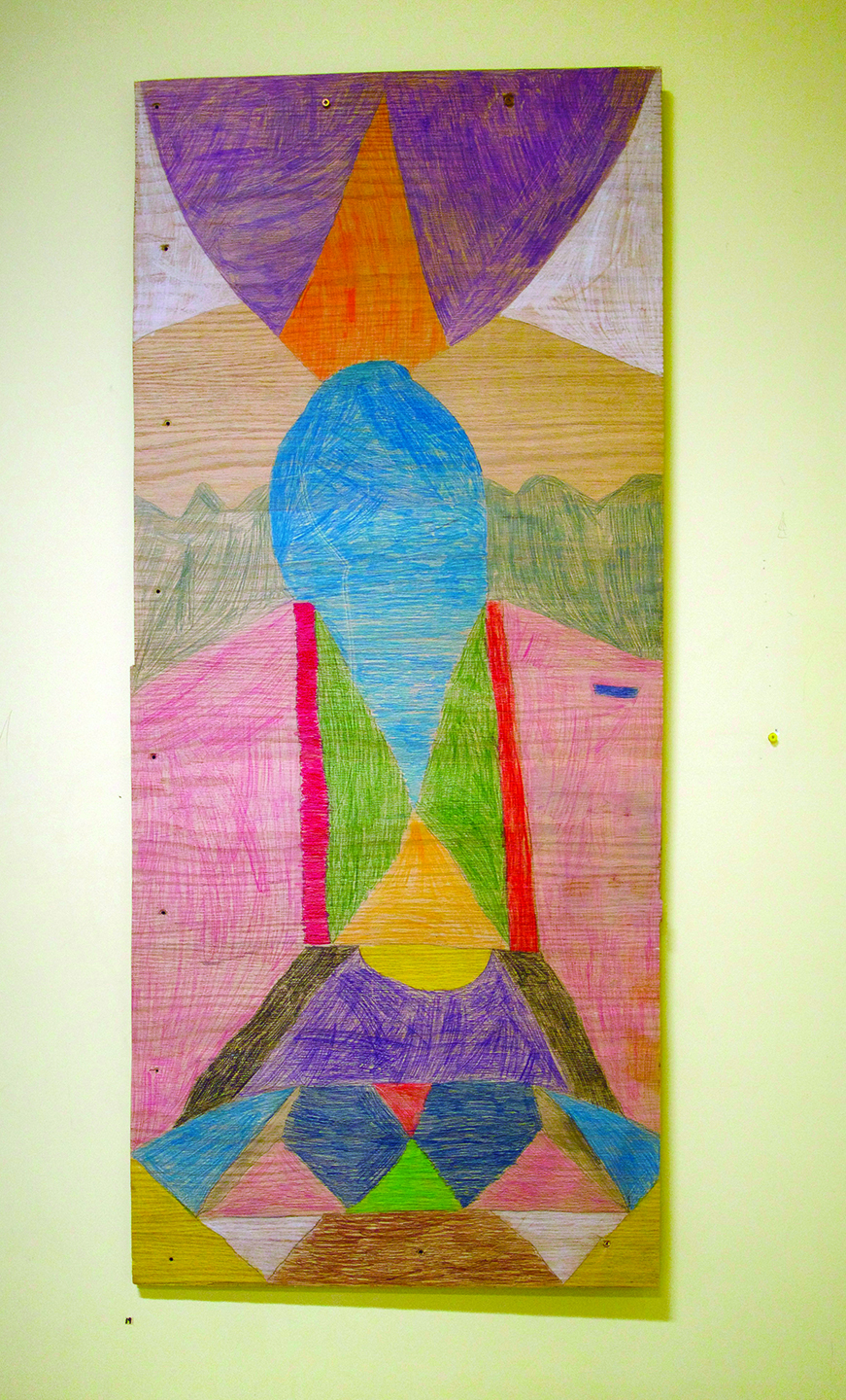 """Tommy Quvianaqtuliaq, 13 years old, 34x50"""", pencil crayon on wood"""