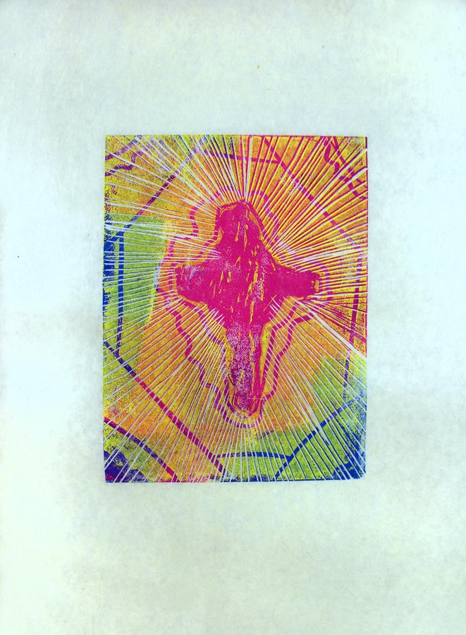 "Meeka Akesuk, 12 years old, two-layer linocut, 11x14"""