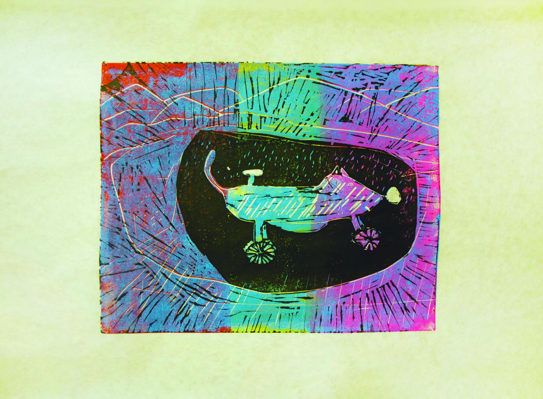 "Amaula Tapaungai, 14 years old, ""Ratcycle"",two-layer linocut,11x12"""