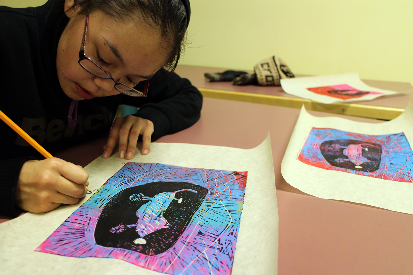 """Amaula signs her prints titled """"Ratcycle"""""""