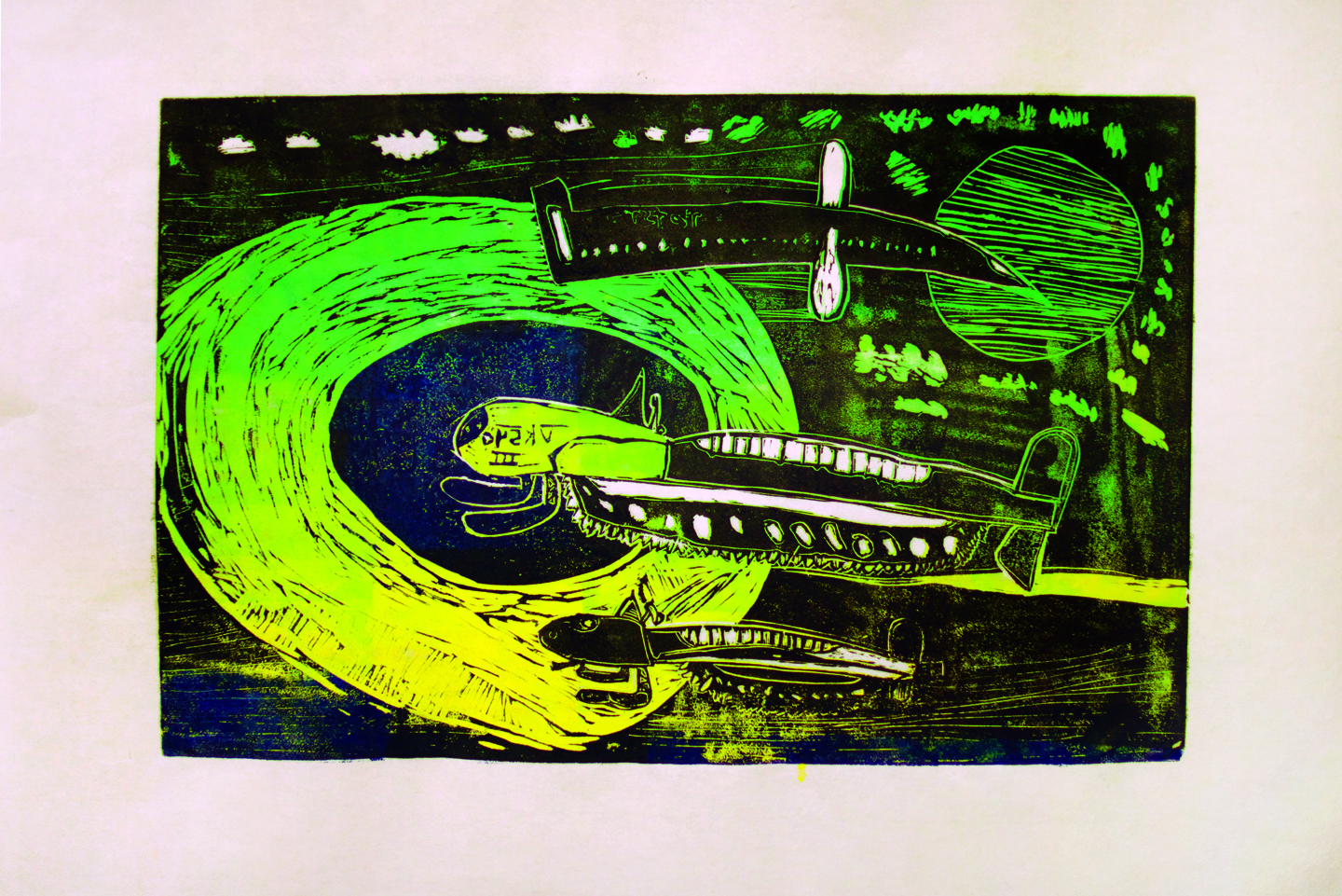"""Joanasie Tunnillie, 12 years old, """"Fast and Furious"""", two-layer linocut print, 12x24"""""""