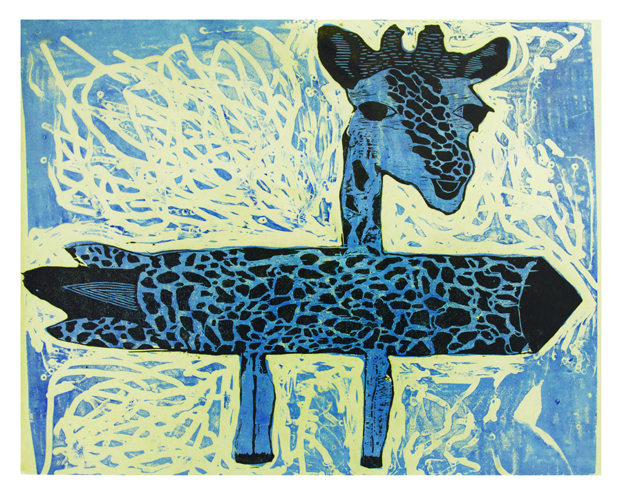 """Josie Saila, 16 years old, """"Rocket Giraffe"""", 24x36"""", 2-layer linocut and woodcut  """" My dad is Toonoo Sharky, he is a carver and very well known for his transformational carvings of humans becoming animals and animals becoming humans. I love his art because it is interesting in the way we can see so many things in one sculpture. My print is a giraffe mixed with a rocket and it is my first print. When I get older I think Im going to be an artist now."""""""