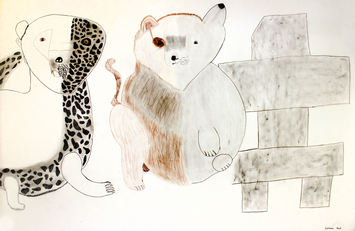 """Natasha Reid, 16 years old, """"The Water, The Land, The People,"""" 30x36"""", Pencil crayon on watercolour paper   """"My drawing is of an Inuksuk, a polar bear and a seal. The Inuksuk represents Nunavut and its people, the Polar Bear represents land and the seal represents water, when they mix it represents the land and the water colliding. There is also a wolf and a rabbit, my favorite animals and have been since I was a young kid. The Inuksuk is the only thing not split in half. The darkest colors are the past the lighter colors the future. All of it contributes to Nunavut. In the past eve  rything was handmade, created from materials found on the land, animals and so on. Now everything is prefabricated and brought from the south. The change is harder on the elders because they have to wrap their heads around the fact that there are new things coming all the time. They must then hold on to the past even stronger and share it and teach what they know to this generation so it does not fade from memory. I am a 16 year old girl from Cape Dorset, I love to draw, dance and study. I want to go to medical school more than anything. Here in Nunavut, when someone is really injured they must fly out to get treatment. If I was a doctor living and working in my home I could be of great service to my community because I could provide treatment immediately when people need it. I would be very possibly the first Inuk Doctor in Nunavut."""""""