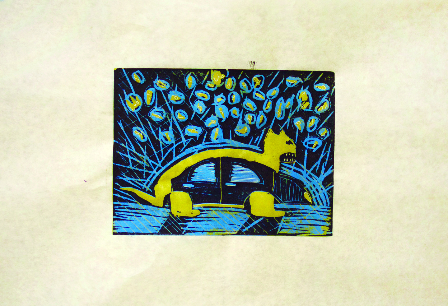 """Ruth Jaw, 12 years old, """"The Beast and the 4Door"""", 11x14"""", 3-layer linocut  """" This is a 3 color lino cut print of a beast morphing into a car. The beast is a wolf. Above the animal/car are Inuktitut syllabics which are the abc's of my language. Inuktitut is my worst subject in school but I am studying hard and really want to be bilingual. I put Inuktitut in the sky instead of stars and these syllabics float above the scene. The animal/car is walking on ice under a starry sky looking for food and gas out on the land. Does it find it? We don't know. Ther  e is a long history of printmaking in Cape Dorset that has lasted almost 60 years and this is my first lino cut print."""""""