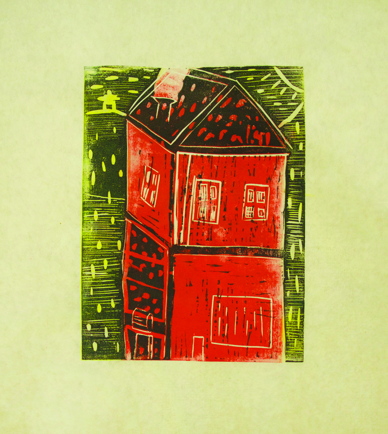 """Saaki Nuna, 12 years old, 11x14"""", 3-layer linocut  """"The first thing that came to my head was a building with a restaurant in the bottom and a home on top. In this building the restaurant owner lives upstairs. The restaurant owner is alone, he only has a dog. His name is Igloo. The building is in Kinngait. Kinngait is the name of my town, it means """"many mountains."""" There used to be a hotel called """"Kinngait Inn,"""" but now it's closed down. It ran out of money. I miss this place because they served poutine, hamburgers and subs. My dream is to create """"Saaki Inn,"""" a new hotel and restaurant.   I printed four impressions of this linocut block. Two were red, yellow, and black, and two were yellow, green and black. I thought about a rainbow and I wanted to try the print in different colours.  A reduction print is created by carving out some parts of the image, printing one layer, and then carving into the block again to print another layer. This is my first reduction print."""""""