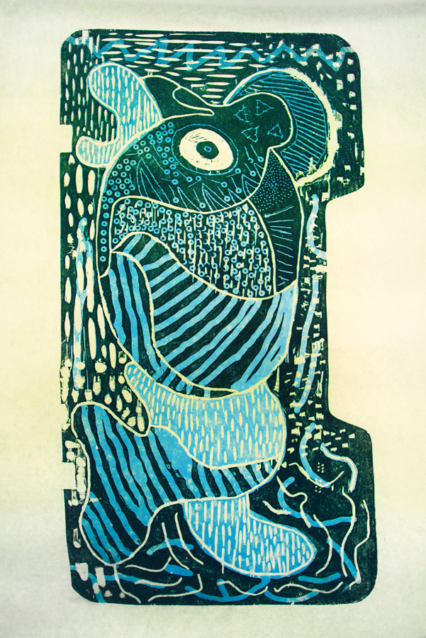 """Susie Saila, 16 years old,  """"Ijialu (IZIALOO) (the big eyeba  ll)"""", 24x36"""", 2-layer woodcut    """"I love throatsinging with my sister. When we throatsing we look into each others eyes. Sometimes she giggled sometimes I giggle and the song we sing changes from day to day. This print is a woodcut done in 2 layers made on Japanese paper with oil based inks. To cut it I used a trim router and some hand carving tools as well as a dremmell tool. I hand printed this piece with the back of a spoon and made an edition of 5 prints."""""""