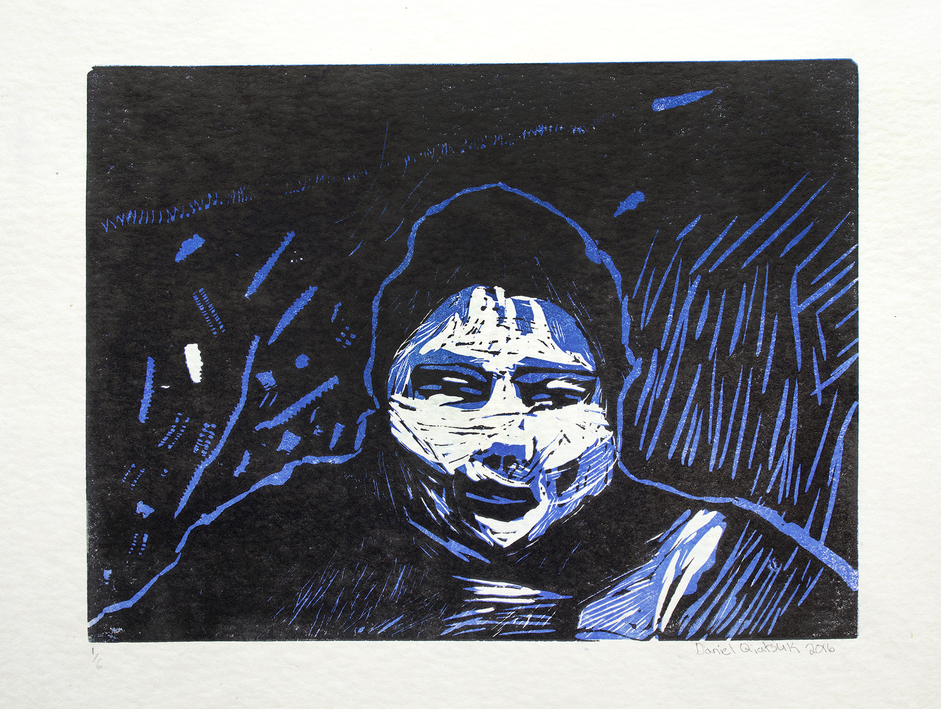 "Uvanga: Self-Portrait   Daniel Qiatsuk  Two-Layer Linocut on Washi  15.5 x 21.5"""