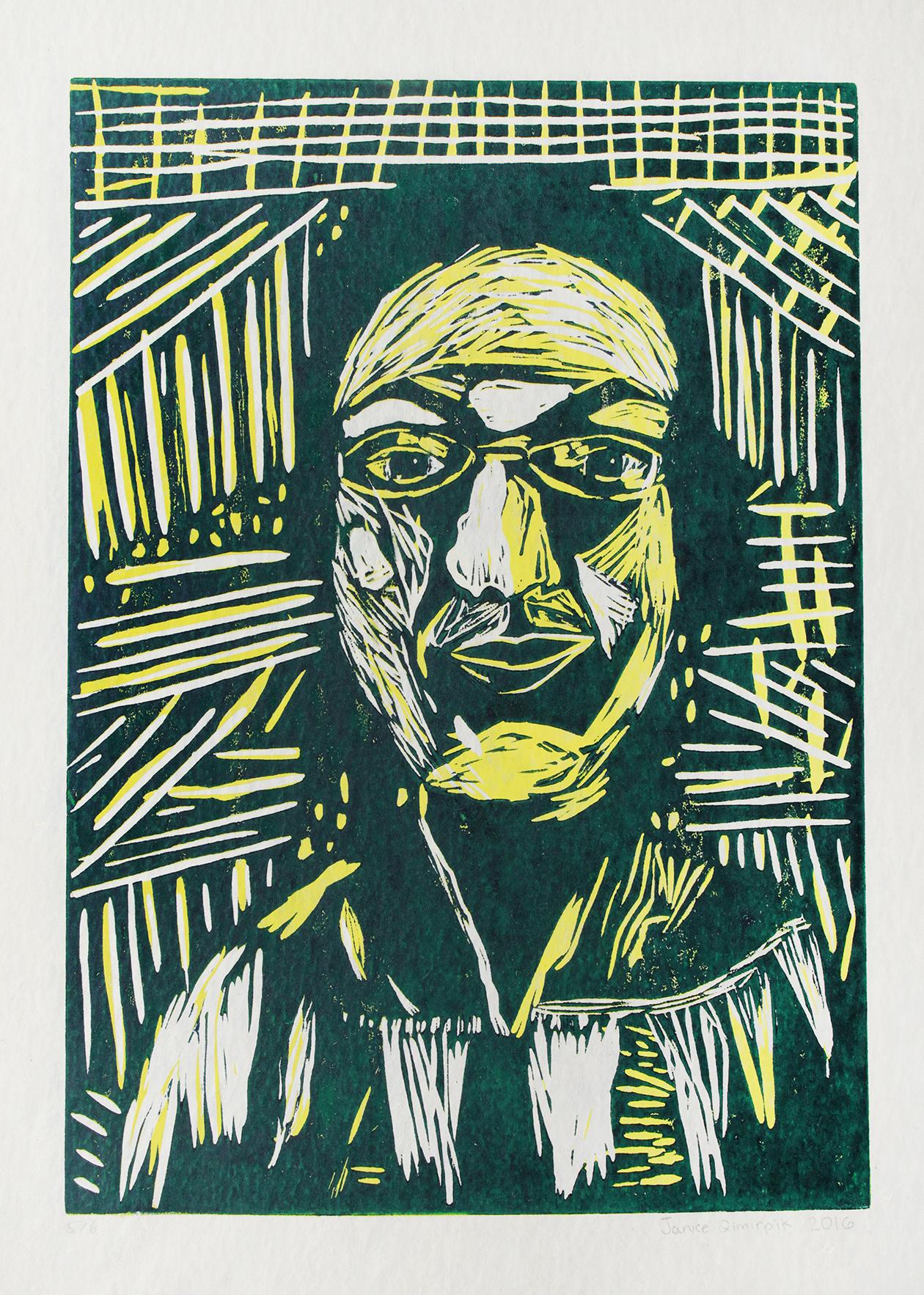 "Uvanga: Self-Portrait   Janice Qimirpik  Two-Layer Linocut on Washi  15.5 x 21.5"""