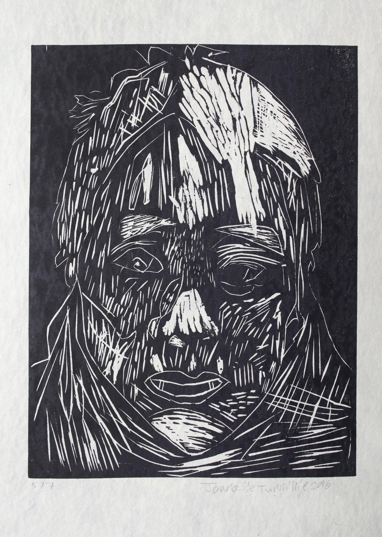 "Uvanga: Self-Portrait   Joanasie Tunnillie  One-Layer Linocut on Washi  15.5 x 21.5"""