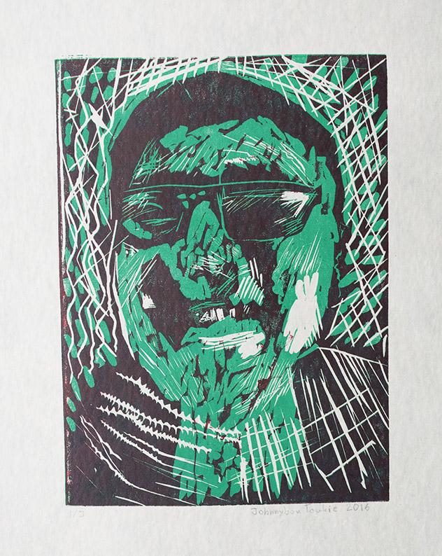 "Uvanga: Self-Portrait   Johnnybou Taukie  Two-Layer Linocut on Washi  15.5 x 21.5"""