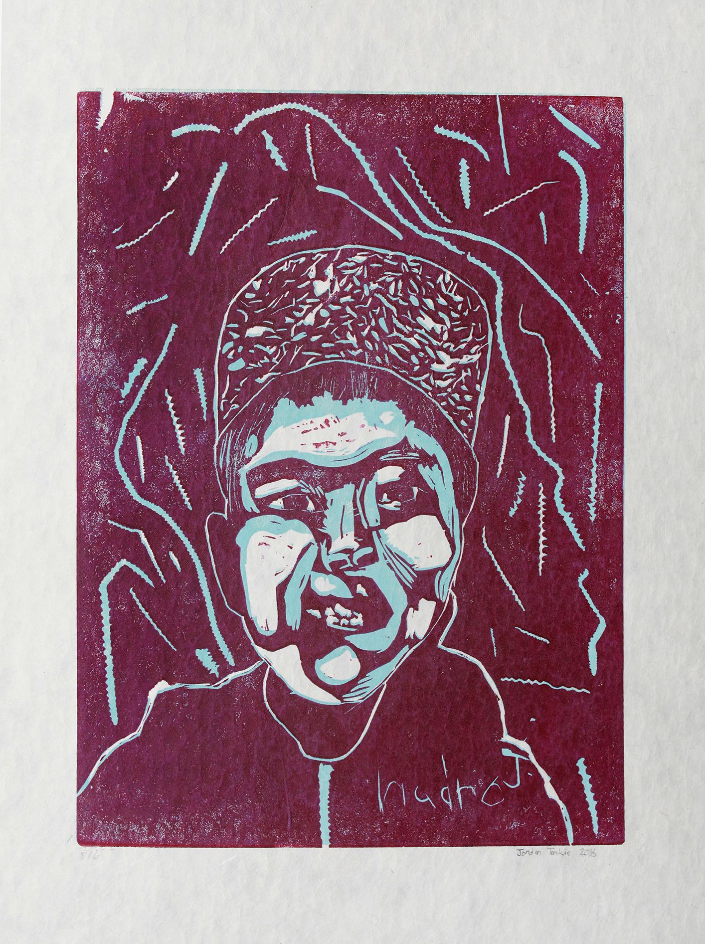 "Uvanga: Self-Portrait   Jordan Taukie  Two-Layer Linocut on Washi  15.5 x 21.5"""