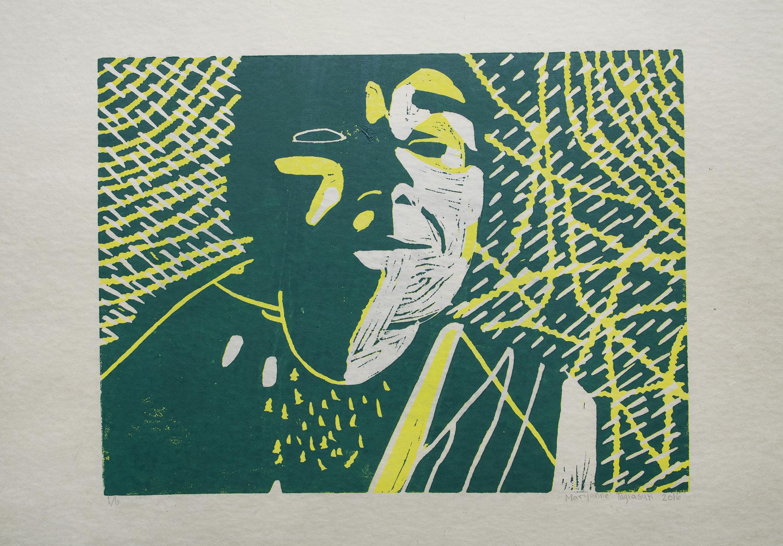 "Uvanga: Self-Portrait   Maryanne Taqiasuk  Two-Layer Linocut on Washi  15.5 x 21.5"""