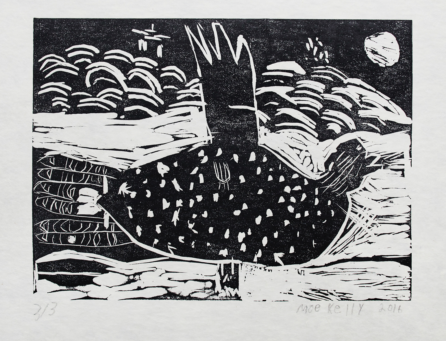 """Untitled    Moe Kelly  Two-Layer Linocut on Washi  15.5 x 21.5"""""""