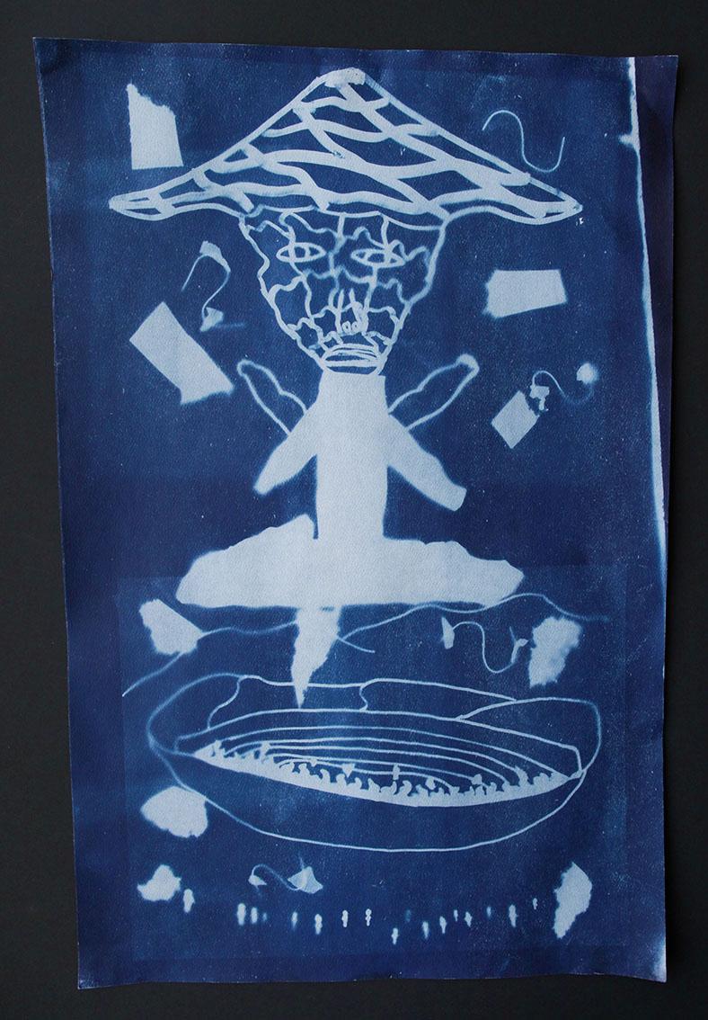 "Untitled (Qulliq)   Saaki Nuna  Cyanotype print  12 x 18"""
