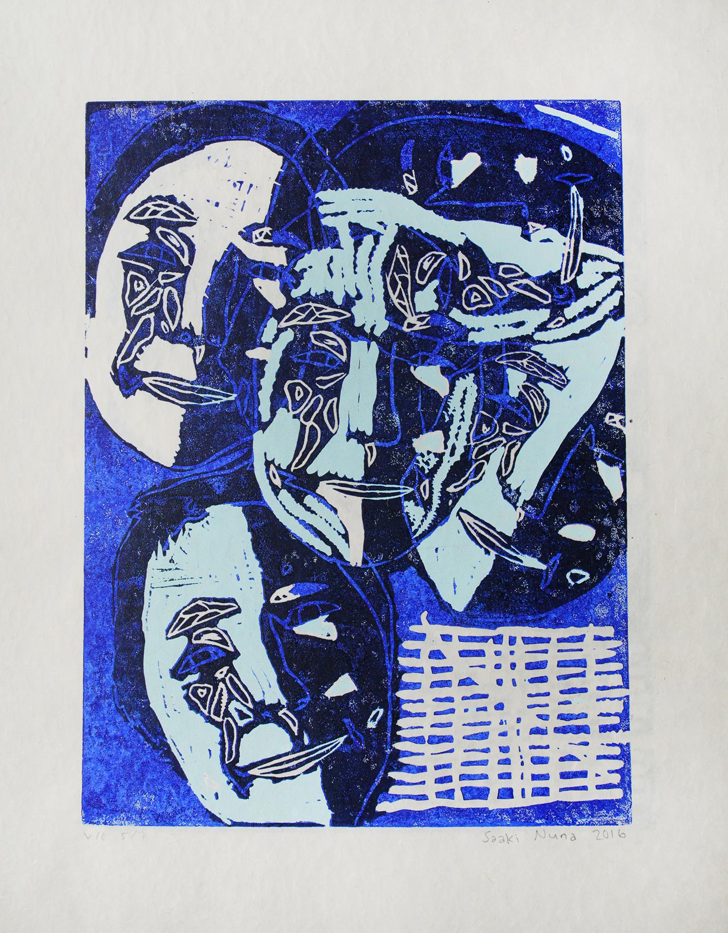 "Uvanga: Self-Portrait   Saaki Nuna  Three-Layer Linocut on Washi  15.5 x 21.5"""
