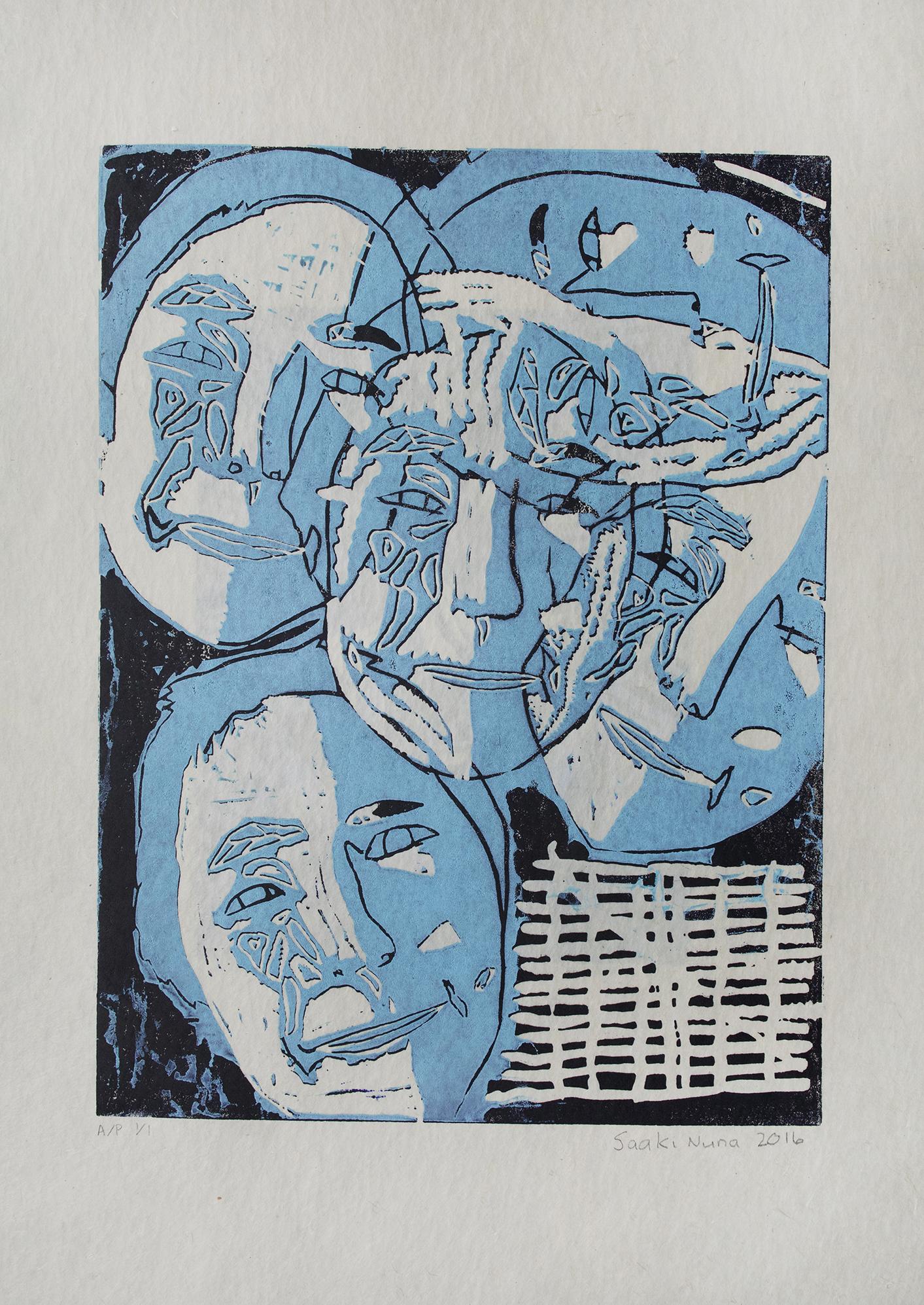 "Uvanga: Self-Portrait   Saaki Nuna  Two-Layer Linocut on Washi  15.5 x 21.5"""