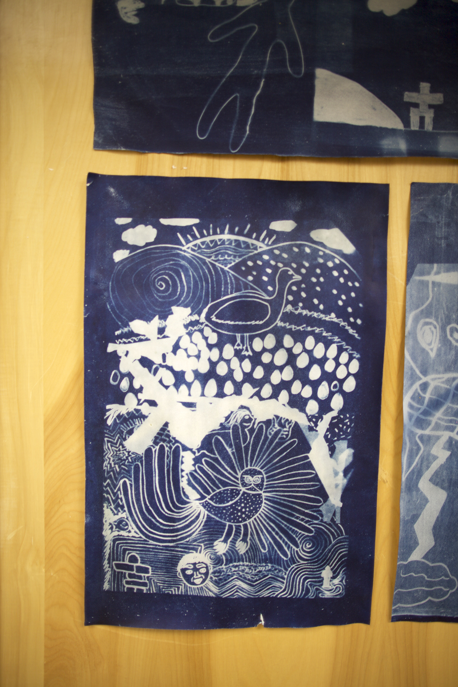"Untitled    Janice Qimirpik  Cyanotype print  12 x 18"""