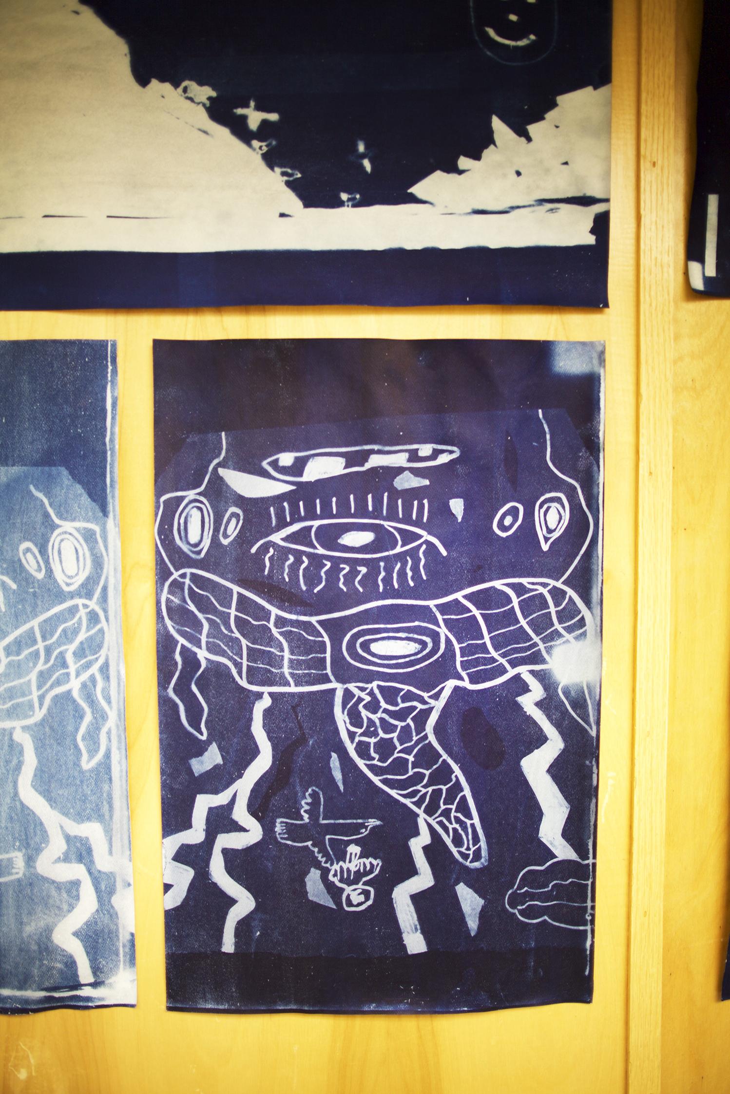 "Untitled (Ezee)   Tommy Quvianaqtuliaq  Cyanotype print  12 x 18"""